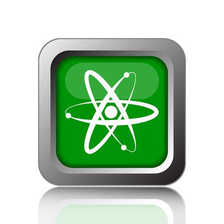 gamma radiation: Atoms icon. Internet button on green background.