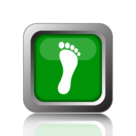orthopedics: Foot print icon. Internet button on green background. Stock Photo