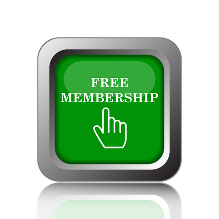sign up: Free membership icon. Internet button on green background.