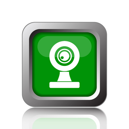 webcam: Webcam icon. Internet button on green background. Stock Photo