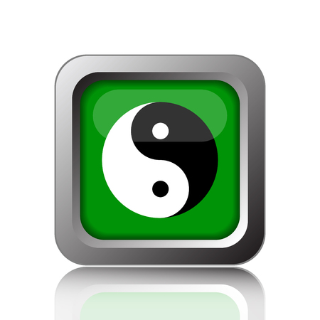karma concept: Ying yang icon. Internet button on green background.