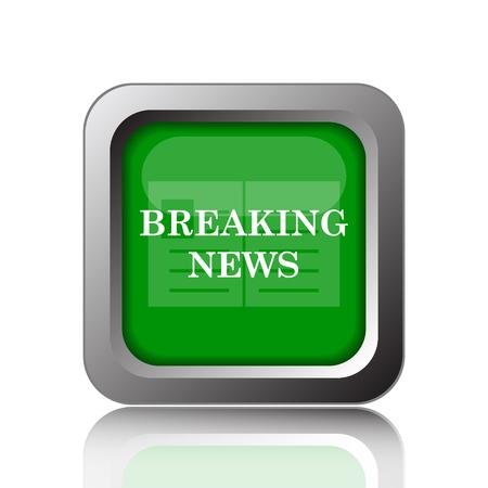 newsflash: Breaking news icon. Internet button on green background.