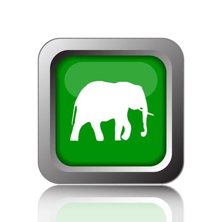 endanger: Elephant icon. Internet button on green background. Stock Photo