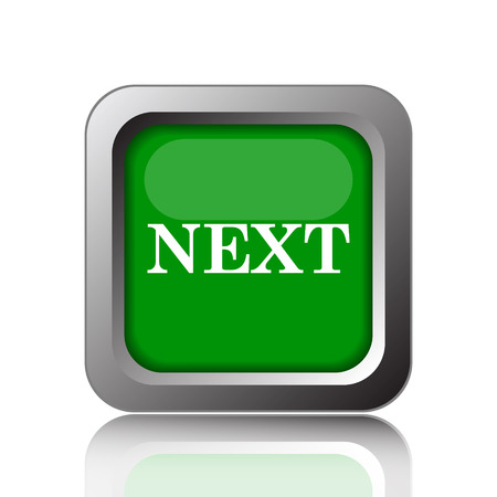 background next: Next icon. Internet button on green background. Stock Photo