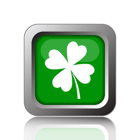 clover button: Clover icon. Internet button on green background. Stock Photo