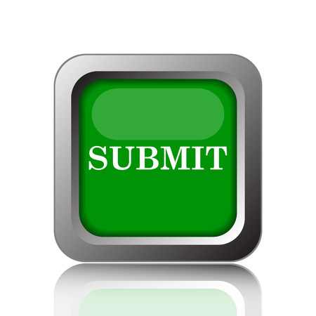 submitting: Submit icon. Internet button on green background. Stock Photo