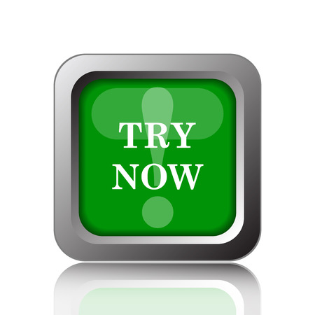 to try: Try now icon. Internet button on green background. Stock Photo