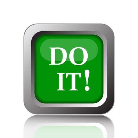 it background: Do it icon. Internet button on green background.