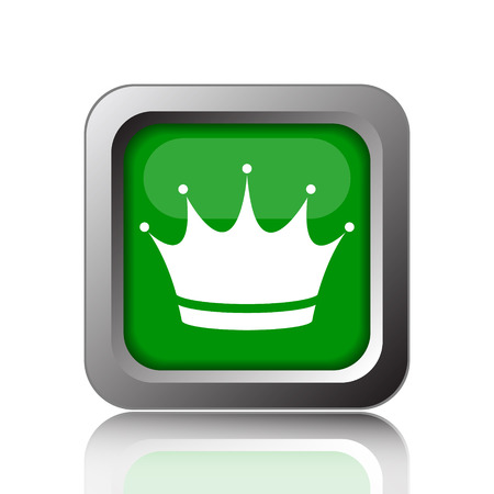 Crown icon. Internet button on green background.