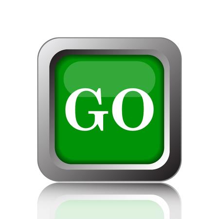 go button: GO icon. Internet button on green background.