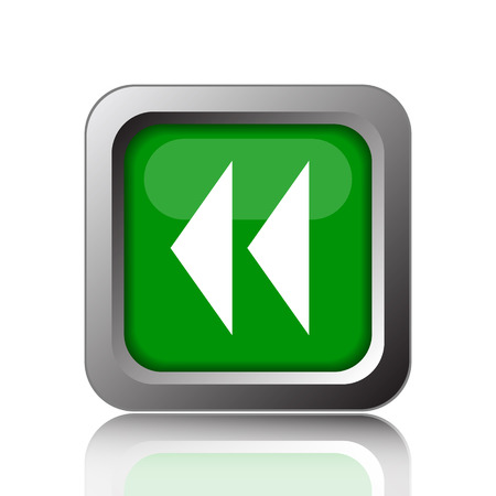 rewind: Rewind icon. Internet button on green background.