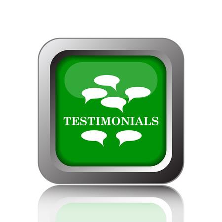 investigations: Testimonials icon. Internet button on green background. Stock Photo