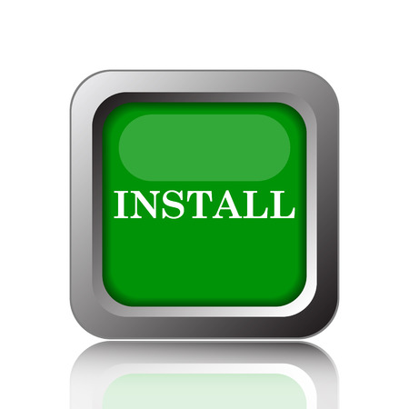 operative: Install icon. Internet button on green background.