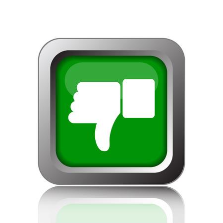 thumb down icon: Thumb down icon. Internet button on green background. Stock Photo