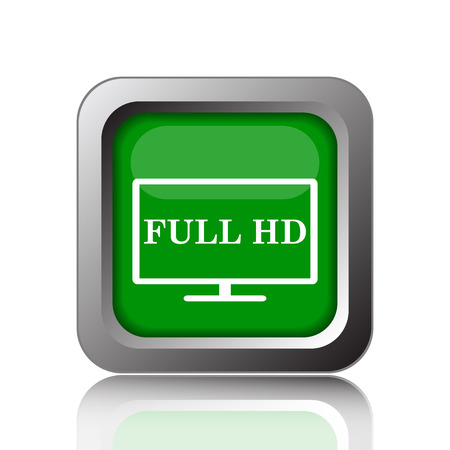 full hd: Full HD icon. Internet button on green background.