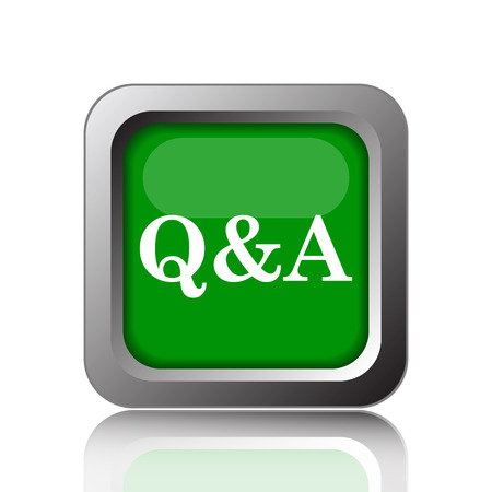 qa: Q&A icon. Internet button on green background. Stock Photo