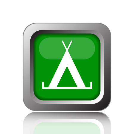 3d bungalow: Tent icon. Internet button on green background.