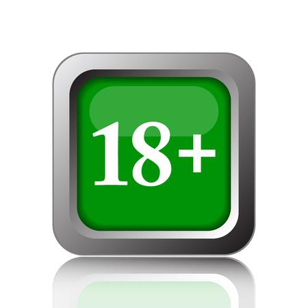 green plus: 18 plus icon. Internet button on green background.