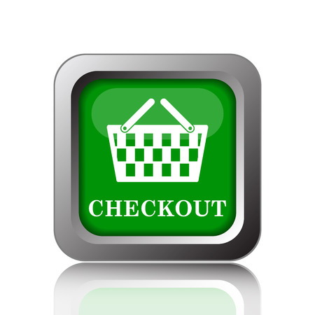 checkout: Checkout icon. Internet button on green background.
