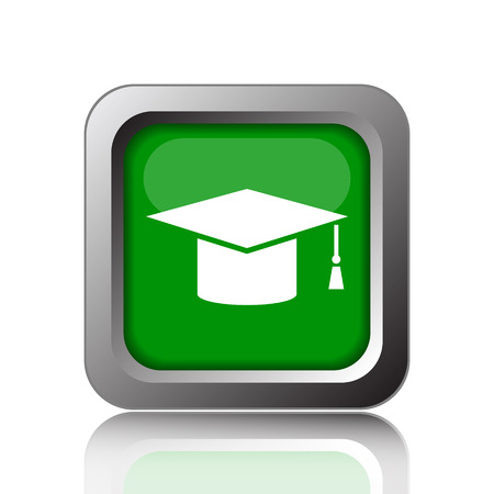 doctorate: Graduation icon. Internet button on green background.