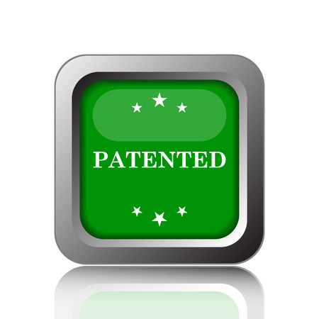 secured property: Patented icon. Internet button on green background. Stock Photo