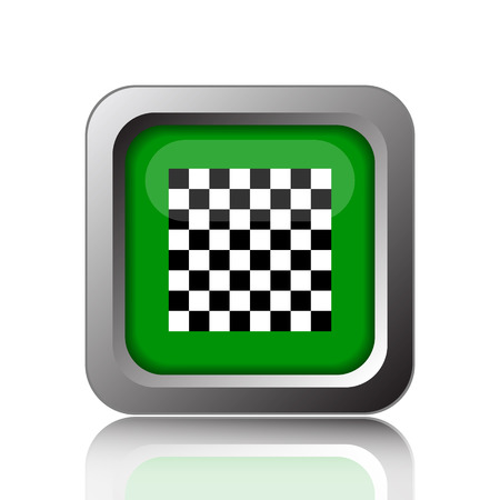 finish flag: Finish flag icon. Internet button on green background. Stock Photo