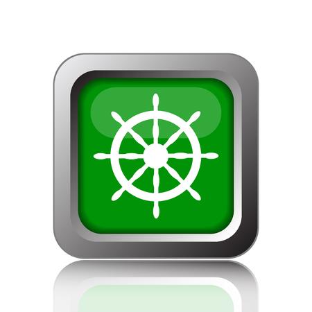 piloting: Nautical wheel icon. Internet button on black background.