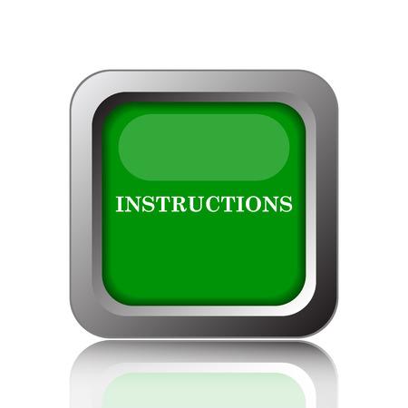 instructional: Instructions icon. Internet button on black background. Stock Photo