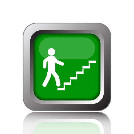ascent: Businessman on stairs - success icon. Internet button on black background.