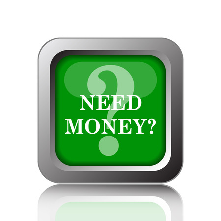 trading questions: Need money icon. Internet button on black background. Stock Photo