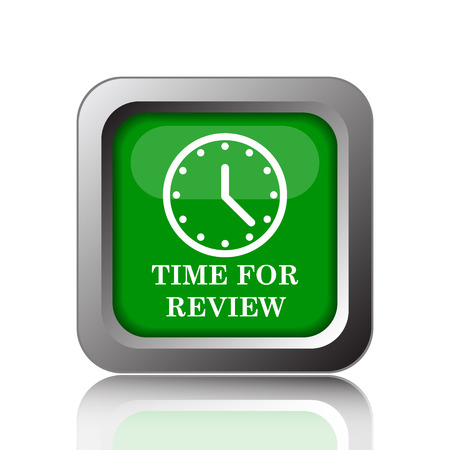 test deadline: Time for review icon. Internet button on black background.