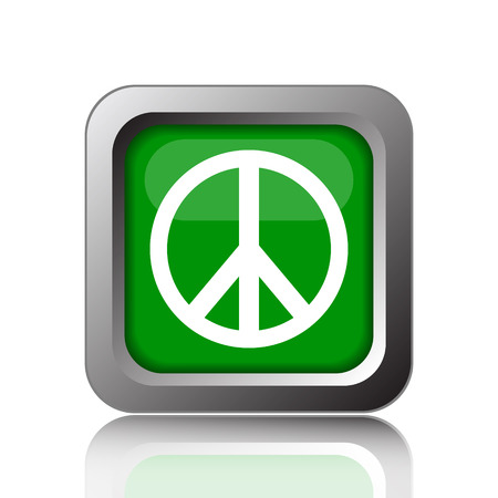 pacifist: Peace icon. Internet button on black background. Stock Photo