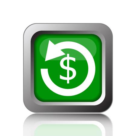 restitution: Refund icon. Internet button on black background. Stock Photo