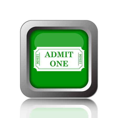entry admission: Admin one ticket icon. Internet button on black background.
