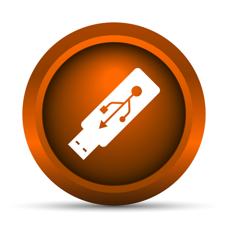 pendrive: Usb flash drive icon. Internet button on white background. Stock Photo