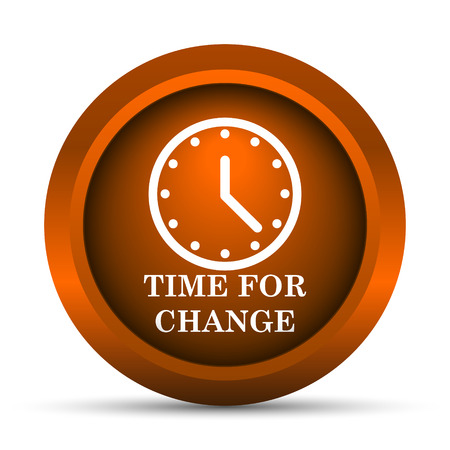 time change: Time for change icon. Internet button on white background. Stock Photo
