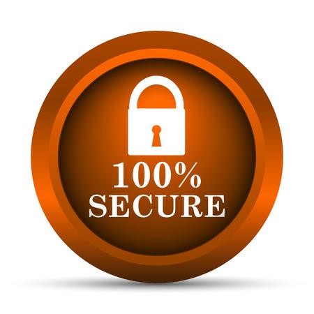 reassurance: 100 por ciento icono seguro. Bot�n de internet sobre fondo blanco. Foto de archivo