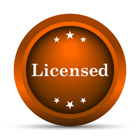 property rights: Licensed icon. Internet button on white background.