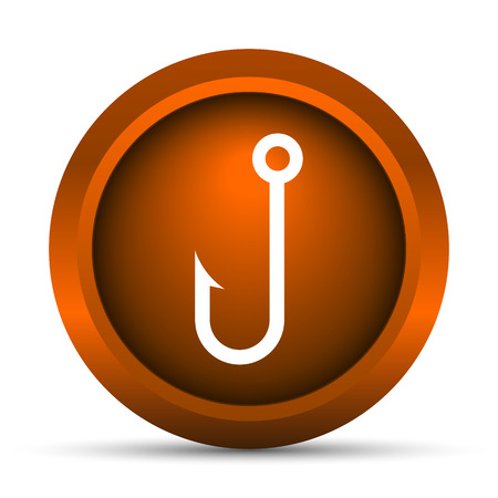 fishhook: Fish hook icon. Internet button on white background.