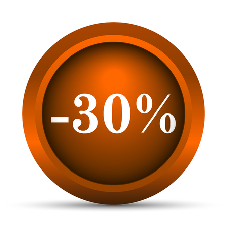 30: 30 percent discount icon. Internet button on white background.