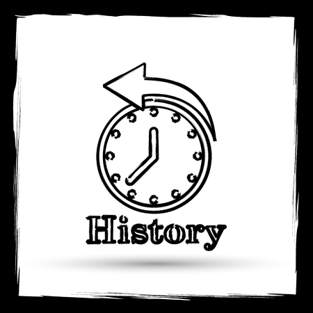 History icon. Internet button on white background. Outline design imitating paintbrush.