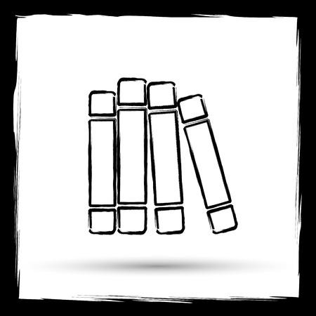 biblioteca: Icono de la biblioteca Libros. Botón de internet sobre fondo blanco. Esquema de diseño imitando pincel.