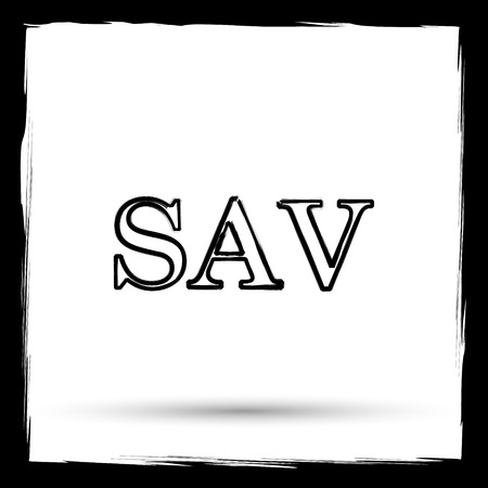 assessed: SAV icon. Internet button on white background. Outline design imitating paintbrush.