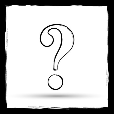 inquiry: Question mark icon. Internet button on white background. Outline design imitating paintbrush.