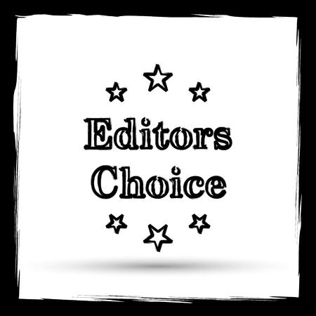 editors: Editors choice icon. Internet button on white background. Outline design imitating paintbrush. Stock Photo