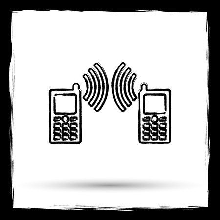 palmtop: Communication icon. Internet button on white background. Outline design imitating paintbrush.