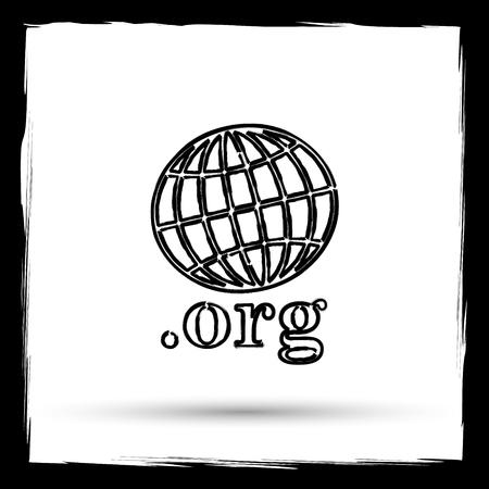 org: .org icon. Internet button on white background. Outline design imitating paintbrush.