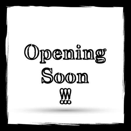inform: Opening soon icon. Internet button on white background. Outline design imitating paintbrush. Stock Photo