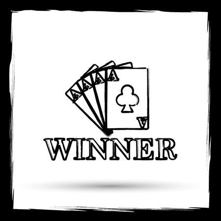 risks button: Poker winner icon. Internet button on white background. Outline design imitating paintbrush. Stock Photo