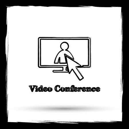 Video conference, online meeting icon. Internet button on white background. Outline design imitating paintbrush. Stock Photo